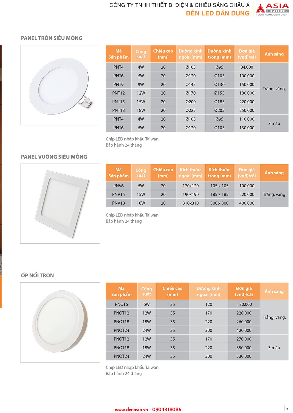 CATALOG - ĐÈN LED ASIA-7