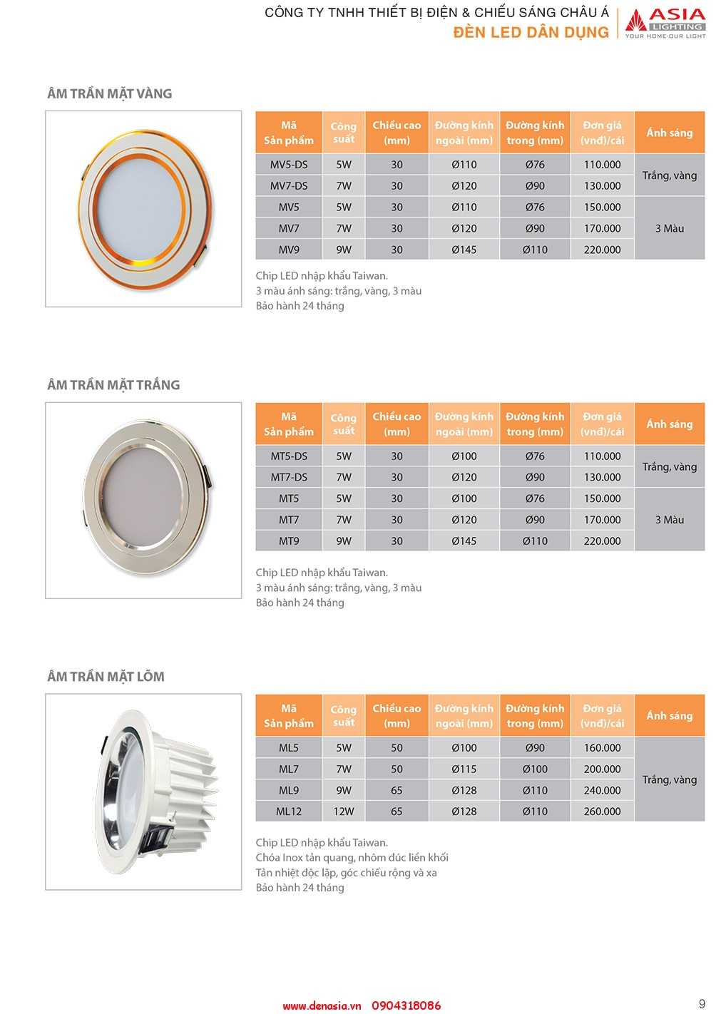 CATALOG - ĐÈN LED ASIA-9