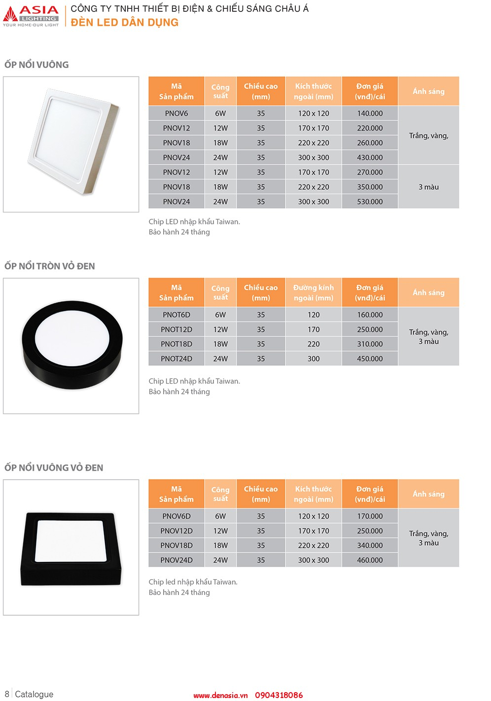 CATALOG - ĐÈN LED ASIA-8