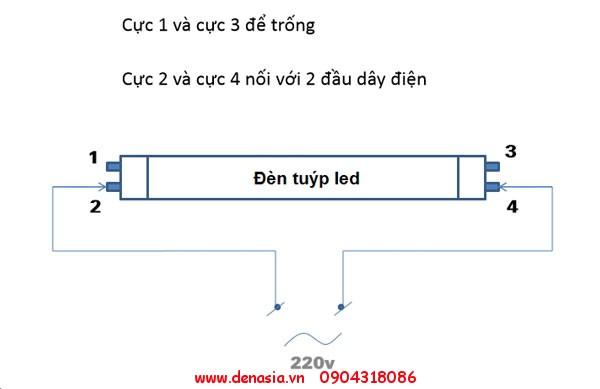 Sơ đồ đấu nối đèn tuýp LED